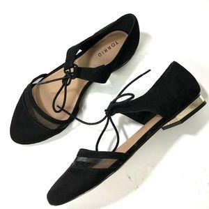 New Torrid Gold Heel Lace Up Ballet Flats 10W